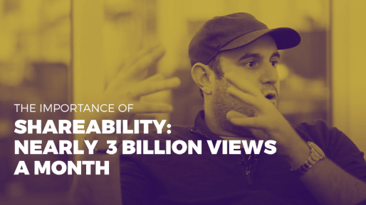 Breaks down how his company generated 80 million followers and 3 billion views per month | The importance of shareability - nearly 3 billion views a month