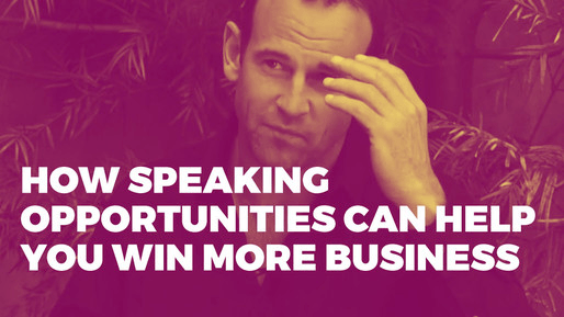 Breaks down how to use comedy to be a better public speaker | How speaking opportunities can help you win more business